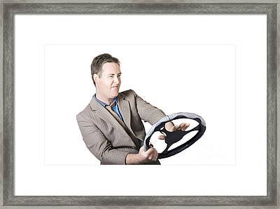 Frustrated Businessman Driving Framed Print by Jorgo Photography - Wall Art Gallery