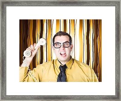 Frustrated Male Office Worker Yelling With Phone Framed Print