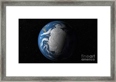 Ful Earth Showing Simulated Clouds Framed Print by Stocktrek Images