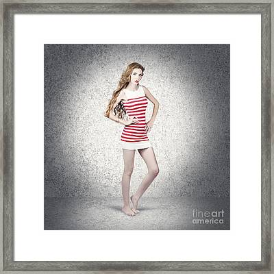 Full Length Retro Fashion Photo. Perfect Woman Framed Print by Jorgo Photography - Wall Art Gallery