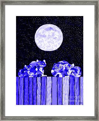 Full Moon Blues Cats Framed Print by Nick Gustafson