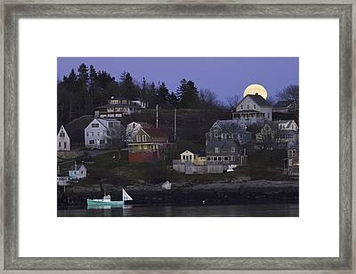 Full Moon Over Georgetown Island Maine Framed Print by Keith Webber Jr