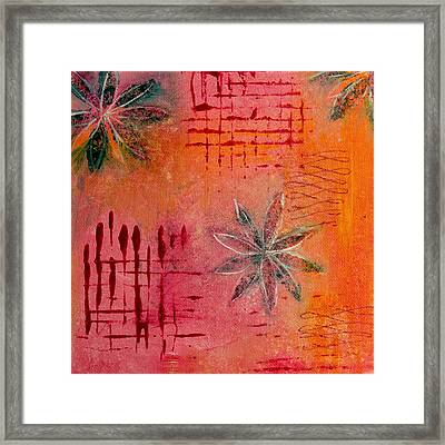 Framed Print featuring the painting Fun Flowers In Pink And Orange 3 by Jocelyn Friis