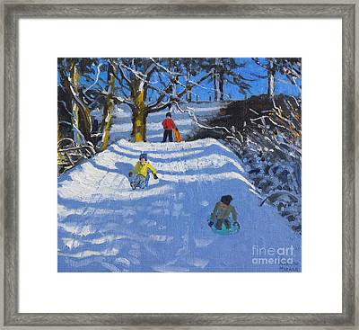 Fun In The Snow Framed Print by Andrew Macara