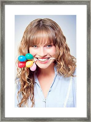 Fun Party Girl With Balloons In Mouth Framed Print