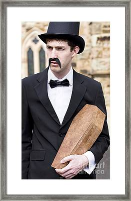 Funeral Director With Coffin Framed Print by Jorgo Photography - Wall Art Gallery