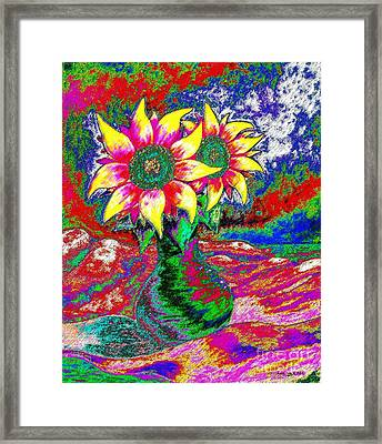 Framed Print featuring the painting Funky Sunflowers by Annie Zeno