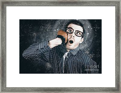 Funny Businessman Making Impact With Smashing Idea Framed Print