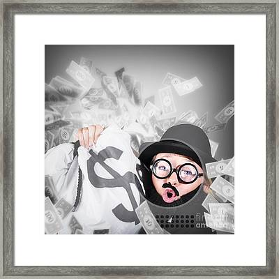 Funny Businessman With Falling Money. Success Framed Print