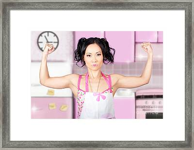 Funny Cleaning Pinup Woman With Clean Strength Framed Print
