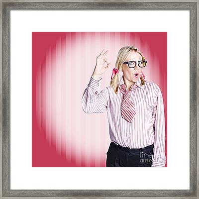 Funny Female Business Auditor Giving Ok Approval Framed Print