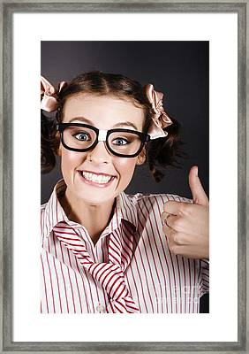 Funny Girl Showing Thumbs Up For All Is Good Framed Print by Jorgo Photography - Wall Art Gallery