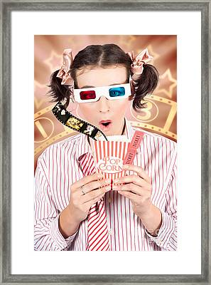 Funny Girl Watching 3d Movie At Cinema Framed Print