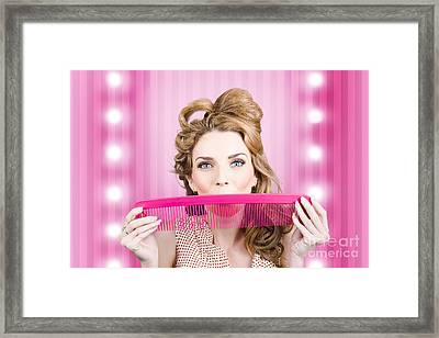 Funny Hairdresser With Cute Hairdo. Pin Up Haircut Framed Print