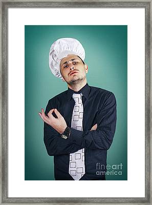 Funny Italian Chef Giving Ok Sign For Good Cooking Framed Print by Jorgo Photography - Wall Art Gallery