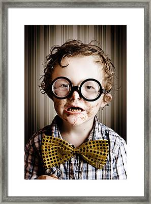 Funny Little Boy Choca Block From Easter Chocolate Framed Print by Jorgo Photography - Wall Art Gallery