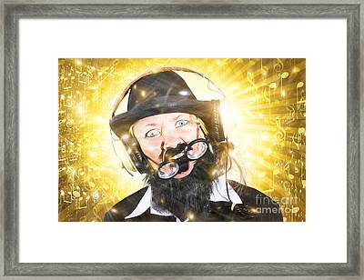 Funny Male Sound Engineer. Mad About Music Framed Print by Jorgo Photography - Wall Art Gallery