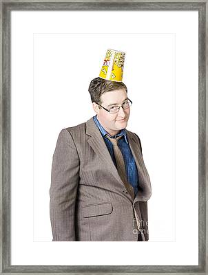 Funny Man Watching Comedy Movie Framed Print