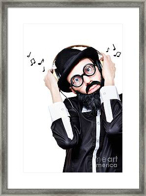 Funny Man Wearing Headphone On White Background Framed Print by Jorgo Photography - Wall Art Gallery
