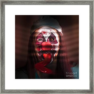 Funny Medical Clown In The Hospital Closet Framed Print