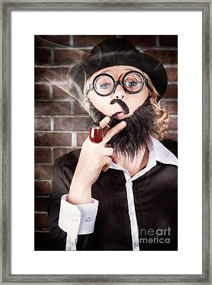 Funny Private Eye Detective Smoking Pipe Framed Print by Jorgo Photography - Wall Art Gallery