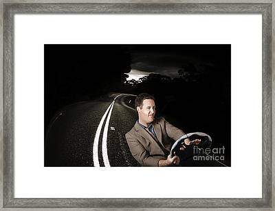 Funny Road Rage Man In Car Accident Framed Print by Jorgo Photography - Wall Art Gallery