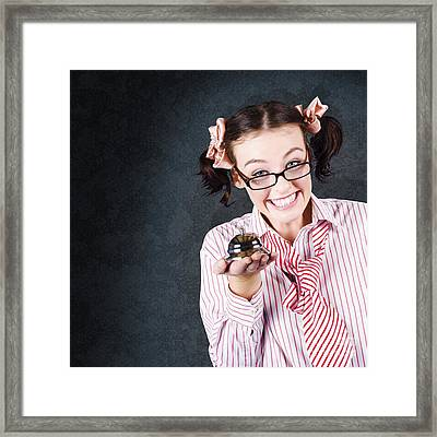 Funny Student Showing Smart Education Service Framed Print by Jorgo Photography - Wall Art Gallery