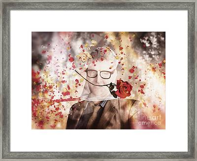 Funny Valentine Nerd Caught In Net Of Romance  Framed Print