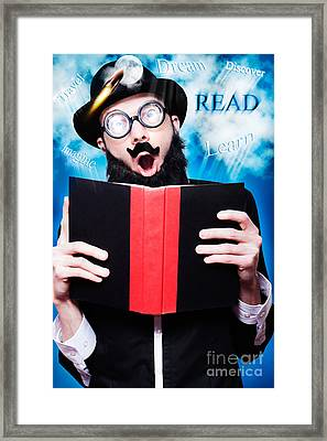 Funny Wizard Reading Magic Book Of Inspiration Framed Print