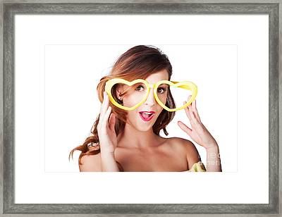 Funny Woman With Heart Shape Sunglasses Framed Print