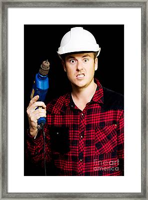 Furious Out Of Control Construction Site Worker Framed Print by Jorgo Photography - Wall Art Gallery