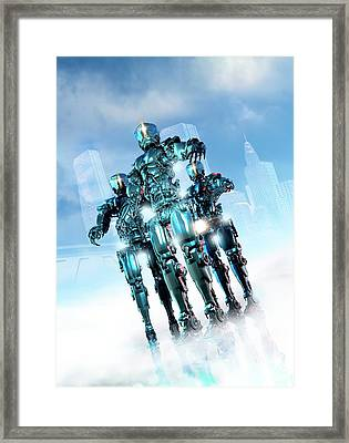 Futuristic Robot Framed Print by Victor Habbick Visions