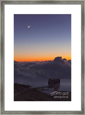 Galileo Telescope And Crescent Moon Framed Print by Babak Tafreshi