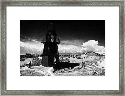 Garden Key Lighthouse Terreplein And Rodman Cannon On Fort Jefferson Dry Tortugas National Park Flor Framed Print by Joe Fox