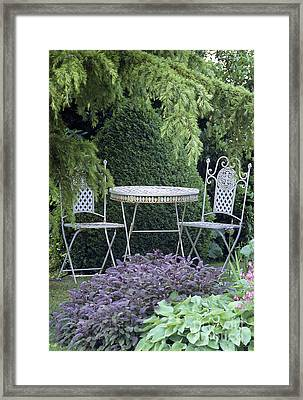 Garden Table And Chairs Framed Print by Archie Young