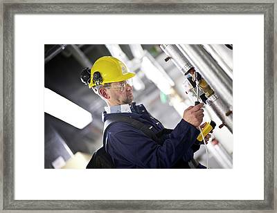 Gas Leak Monitoring Framed Print by Crown Copyright/health & Safety Laboratory Science Photo Library