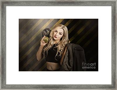 Gas Mask Pinup Girl In Nuclear Danger Zone Framed Print by Jorgo Photography - Wall Art Gallery