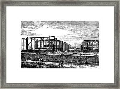 Gas Storage Tanks Framed Print by Science Photo Library
