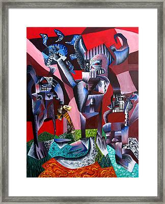 Framed Print featuring the painting Gaungian Dimensional by Ryan Demaree