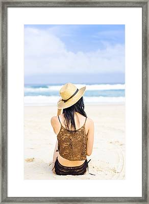 Gazing Out At The Ocean Framed Print