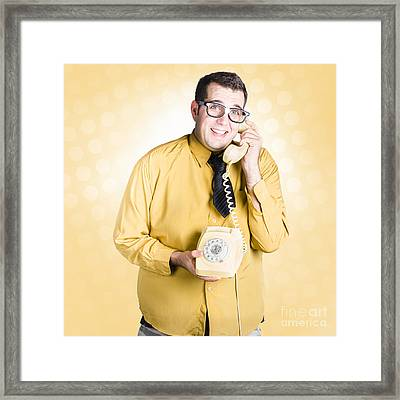 Geeky Businessman On Important Phone Call Framed Print by Jorgo Photography - Wall Art Gallery