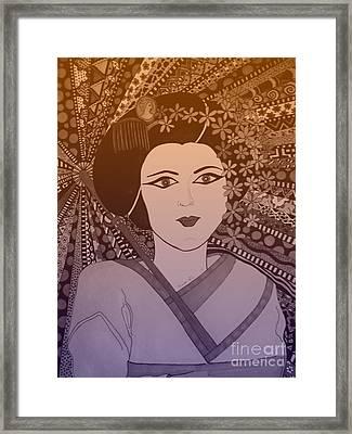 Geisha Girl Bronze Framed Print by Karen Larter