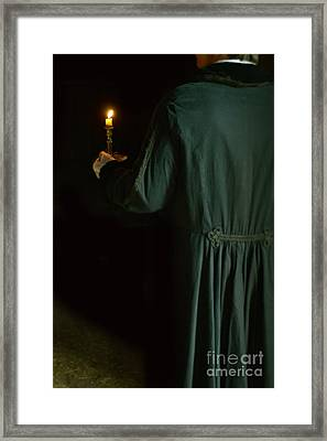 Gentleman In 18th Century Clothing With A Candle Framed Print by Jill Battaglia
