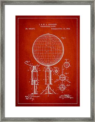 Geographical Globe Patent Drawing From 1892 Framed Print