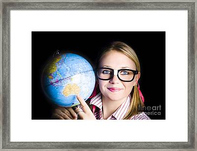 Geography School Student Learning About World Framed Print
