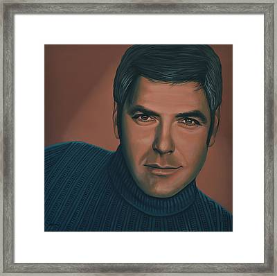 George Clooney Painting Framed Print