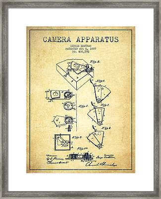 George Eastman Camera Apparatus Patent From 1889 - Vintage Framed Print by Aged Pixel
