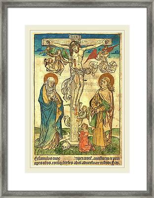 German 15th Century, Christ On The Cross With Angels Framed Print
