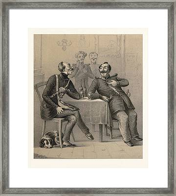 German Military Drinking A Glass Of Wine Framed Print