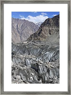 Ghulkin Glacier At The Karakorum Mountains In Pakistan Framed Print by Robert Preston